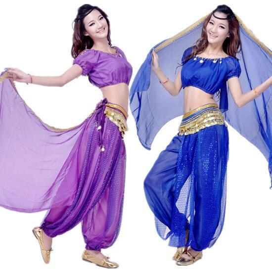 Belly dance set indian dance costume set women dance clothes Top+Pants+Belt+Headband 8 colors VL-413 индийский костюм для танцев девочек