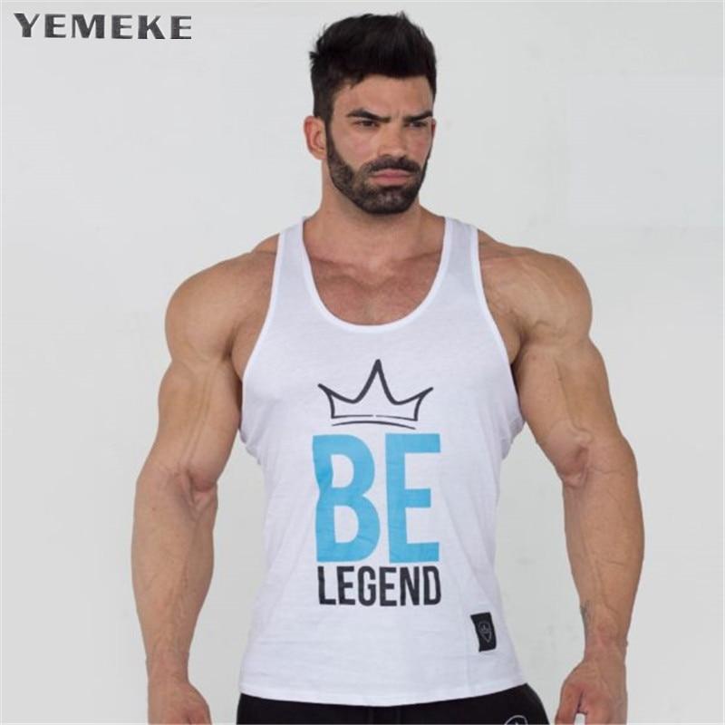 YEMEKE Bodybuilding Men print Tank Tops workout Sleeveless Shirts Fitness Tops Tank Men O-Neck Vest Stringer Undershit