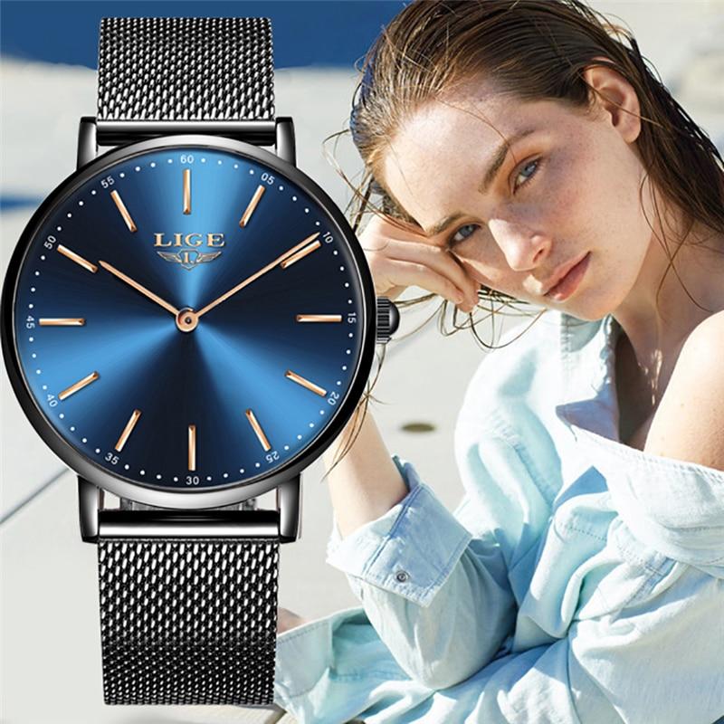 LIGE Womens Watch Top Brand Luxury Quartz Clock Business Waterproof Fashion Simple Ultra Thin City Style