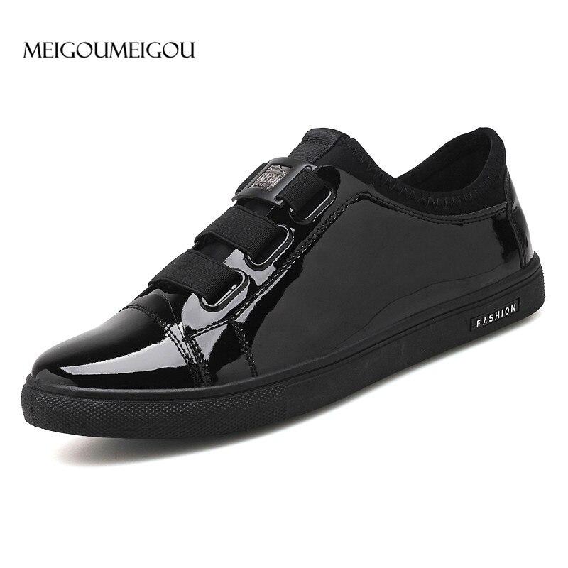 51ed1531163d Купить MEIGOUMEIGOU Новый дизайн, мужские кожаные туфли без шнуровки,  повседневные сникерсы, Мужская обувь для вождения, лоферы из лакированной  кожи, муж.