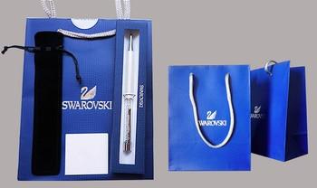 С логотипом коробка Подарка мешок Swarovski crystal ручка Для офис свадебный подарок Шариковая ручка шариковая ручка ролика PK barcelet кулон