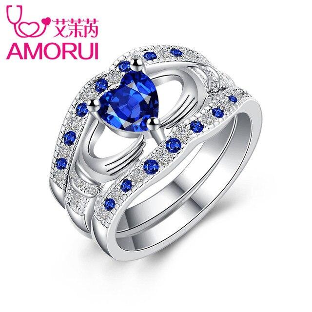 AMORUI Bridal Love Heart Promise 3 Piece Set Wedding Rings for Women Blue CZ Bir