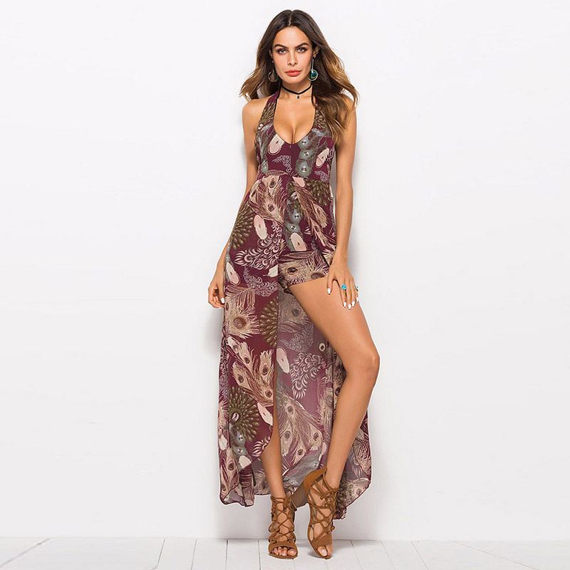 Sisjuly 2018 Summer Women Halter Floral Print Sexy V Neck Backless Jumpsuit High waist loose sexy fashion beach Bodysuits