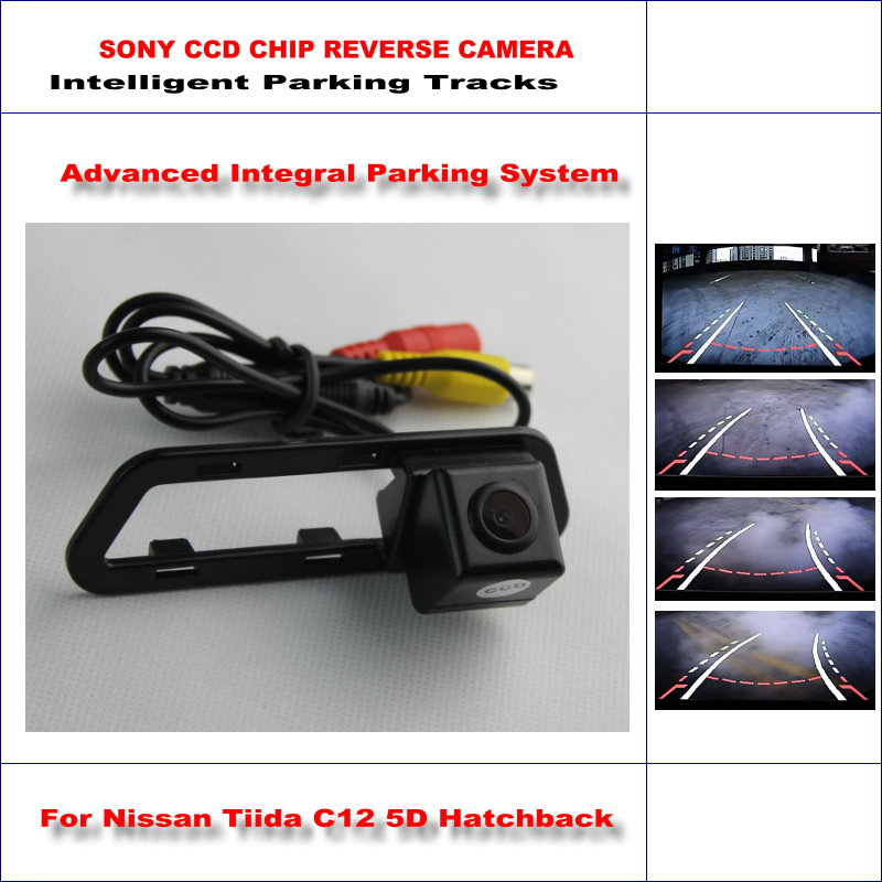 ФОТО HD SONY Car Rear Camera For Nissan Tiida C12 5D Hatchback 2011-2015 Intelligent Parking Reverse Backup NTSC RCA AUX 580 TV Lines