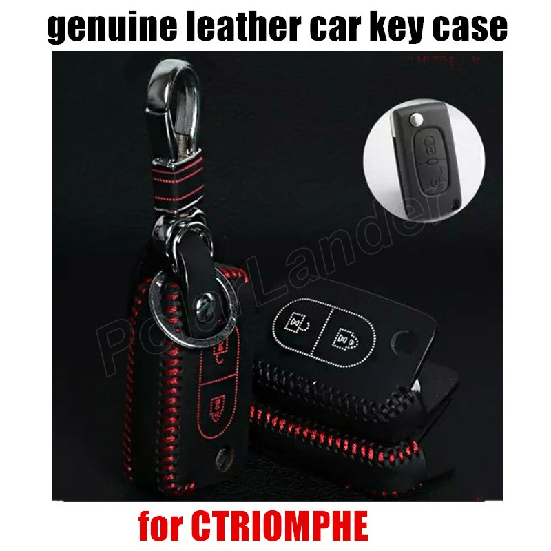 Only Red hot sale car key case hand sewing leather car key cover fit for CITROEN CQUATE CTRIOMPHE C4CC5