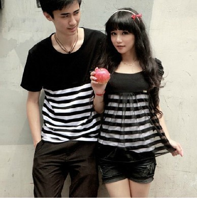 Couples Pocket T shirt Cute Korean Couple T shirt lovers ...