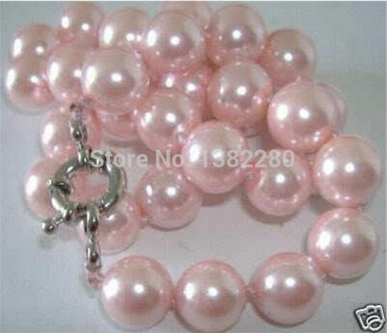 Nouveau Style De Mode bricolage 8mm Rose Collier de Perles De coquille de mer du sud 18