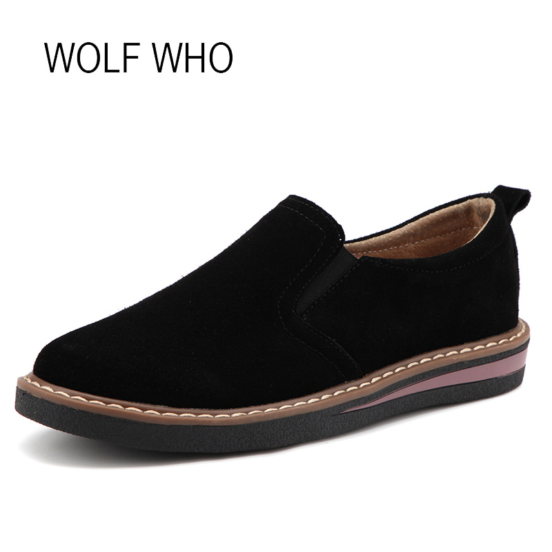 WOLF WHO 2018 Spring Women Suede Shoes Female Leather Loafers Ladies Slip on Flats Tenis Femininos Casual H-172 women shoes slip on womens flats shoes loafers faux suede womens ballerina flats casual comfort ladies shoes plus size 35 43