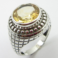 Solid Silver Citrines Ring Sz 6.75 Handcrafted Jewelry Unique Designed