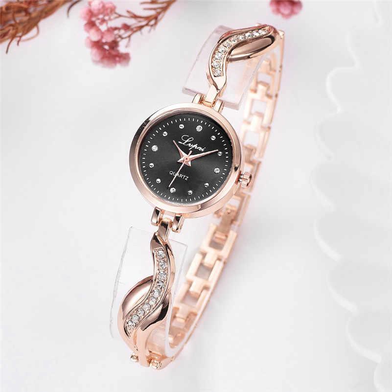 Mulheres Assistem 2019 Best Selling Moda Relógios Banda de Aço Inoxidável de Cristal de Luxo Pulseira relógio de Quartzo reloj mujer Presente Quente AA5