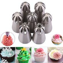 7 stks Ball Nozzles Russische Tips tulp Bol Crème Rvs Icing Piping Nozzles Gebak Decorating Cupcake Decorator D45
