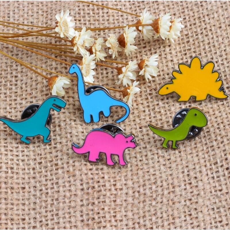 5pcs/set 5 Styles Dinosaur Children Brooch Metal Badges on Backpack Enamel Pin Shirts Lapel Pins for Women Men Fashion Jewelry