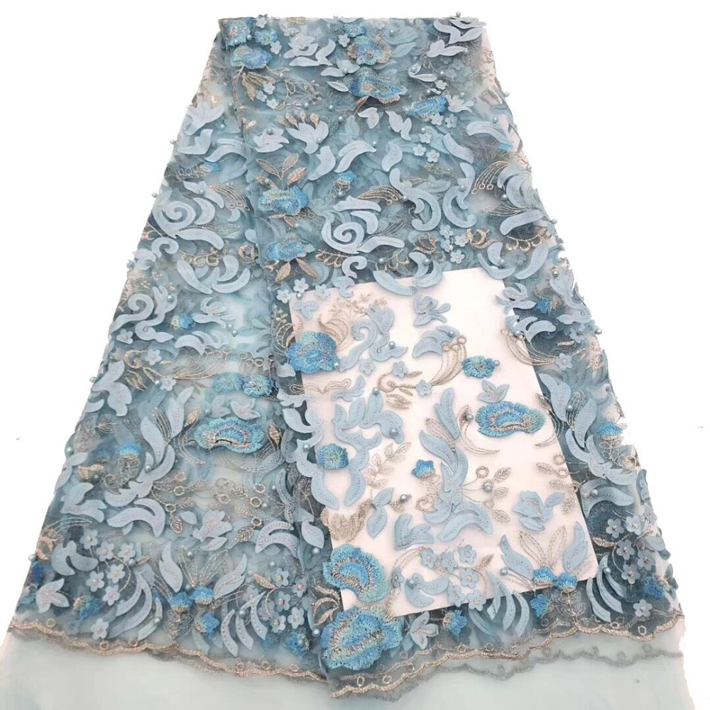 Sky Blue French Lace Fabric 3D Flowers Embroidered African Tulle Lace Fabric With Beads African Lace Fabric For WeddingSky Blue French Lace Fabric 3D Flowers Embroidered African Tulle Lace Fabric With Beads African Lace Fabric For Wedding