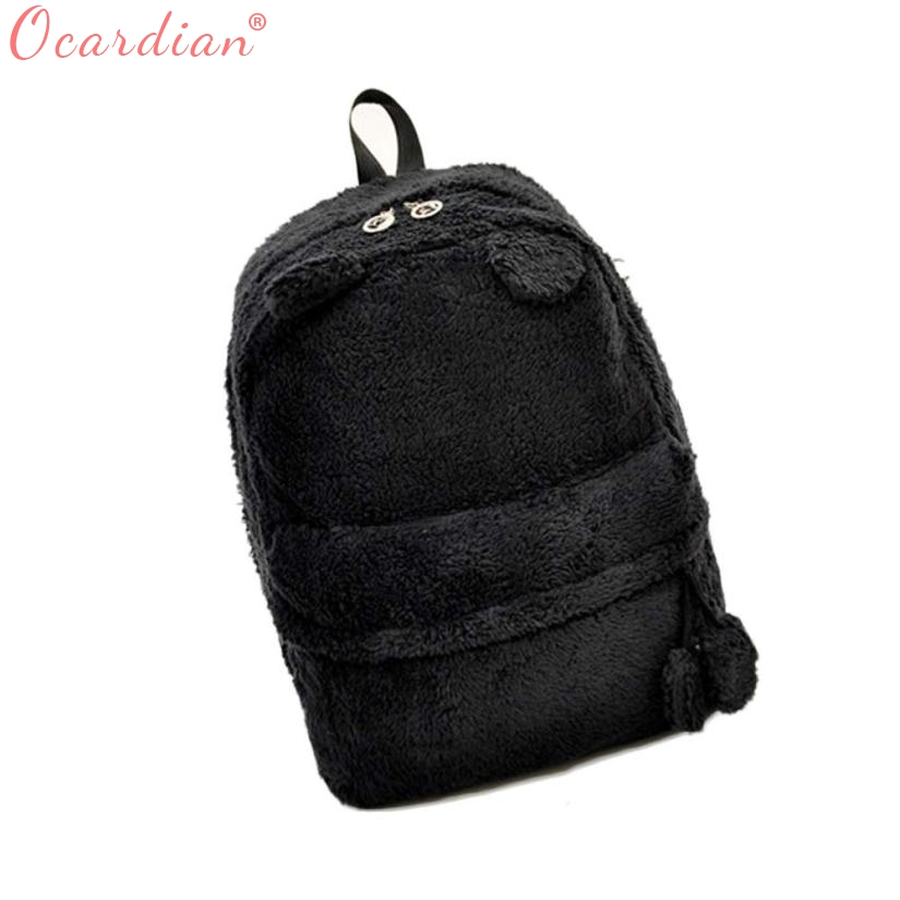 OCARDIAN Fashion bag Cute Travel Satchel Shoulder Plush Bag Rucksack feminina Canvas Backpack back pack New O17