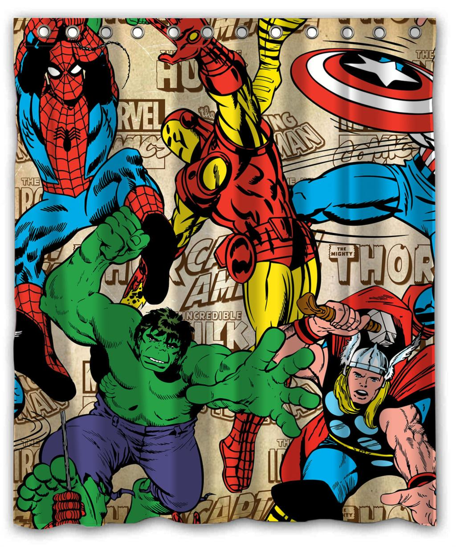 Marvel shower curtain - Epic Heroes Hulk Spiderman Iron Man Thor Custom Waterproof Shower Curtain 60 X 72