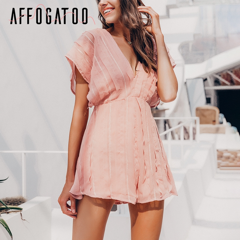 Affogatoo Sexy V-neck backless pink jumpsuit romper women Summer chiffon short jumpsuit female Holiday beach playsuit ladies