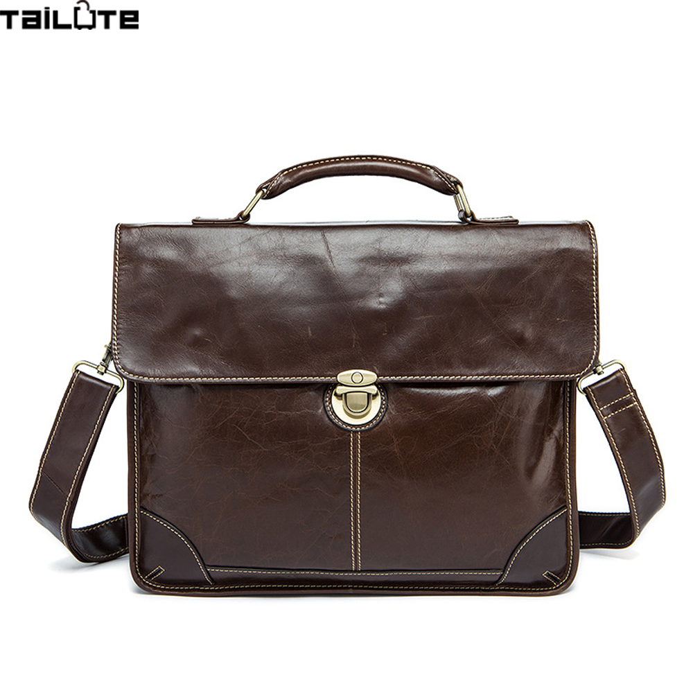 TAILUTE Genuine Leather Men Briefcase Man Bags Business Laptop Tote Bag Men's Crossbody Shoulder Bag Men's Travel Bags New mva genuine leather men bag business briefcase messenger handbags men crossbody bags men s travel laptop bag shoulder tote bags