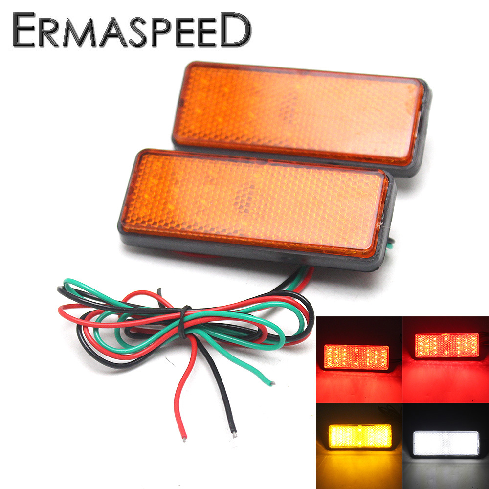 Pair Motorcycle Square LED Turn Signal Indicator Red / Amber / White Light Reflectors Universal for Honda Kawasaki Yamaha Ducati|reflector white|indicator ledindicator turn signal - title=
