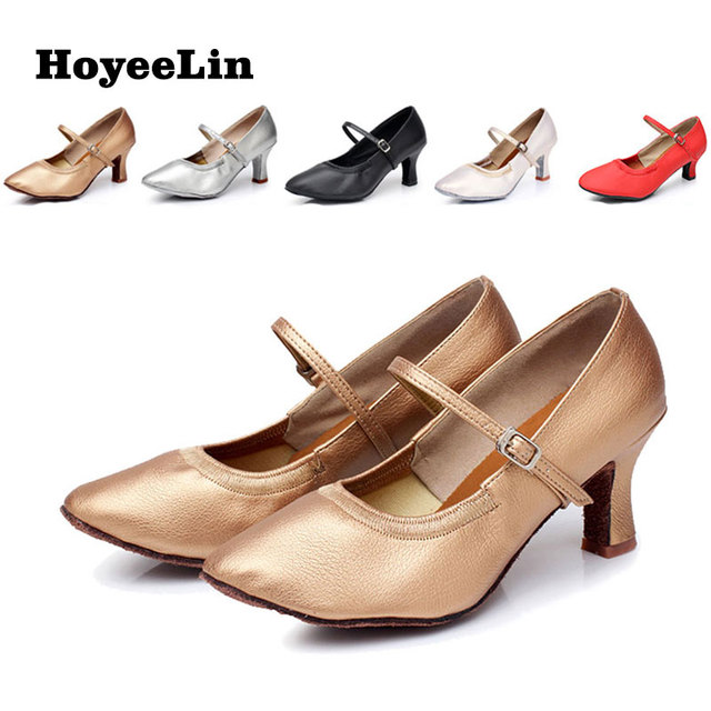 HoYeeLin Modern Dance Shoes Women Ladies Mid Heeled Ballroom Tango Waltz Dancing Shoes Indoor Outsole