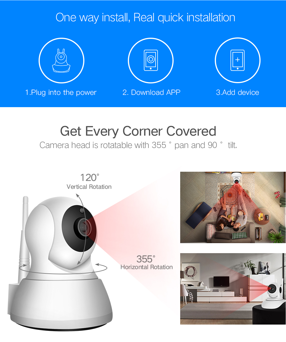 HTB1hFIRsQyWBuNjy0Fpq6yssXXaa SDETER Home Security IP Camera Wi-Fi 1080P 720P Wireless Network Camera CCTV Camera Surveillance P2P Night Vision Baby Monitor