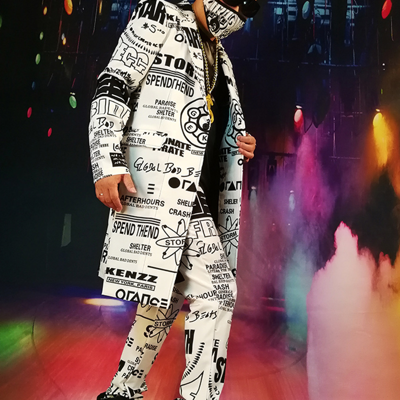 Custom Made Suits Sets Men Fashion Graffiti Casual Hip Hop Long Blazers Jacket Male Party Stage Singer DJ Costume