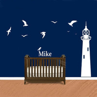 Nautical Theme Lighthouse With Name Wall Decal 2 Infant and Children's Wall Decal Nautical Decor for Bedroom & Playroom160x256CM