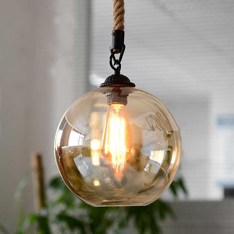 Loft vintage retro pingente luzes bola de vidro industrial corda cânhamo e27 luminárias para restaurante sala jantar sala estar café bar