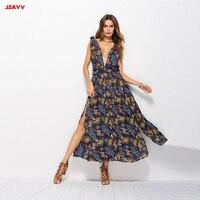 2019 лето Печатный глубокий v образный вырез JZAYV мода платье с длинным разрезом дамы vestidos дизайн качество макси платья