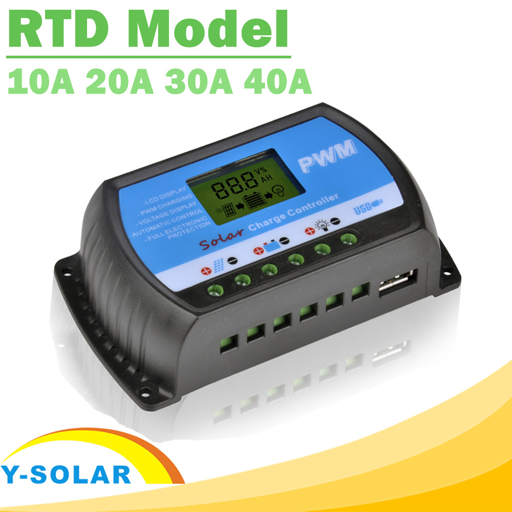 Y-SOLAR PWM 10A 20A 30A 40A Solar Charge Controller 12V 24V Auto LCD Display Solar Regulator RTD for Max 50V Panel Input USB 5V 50a 40a 30a 20a 10amps 12v 24v automatic solar cell charge controller pwm solar photovoltaic regulator lcd display 5v usb