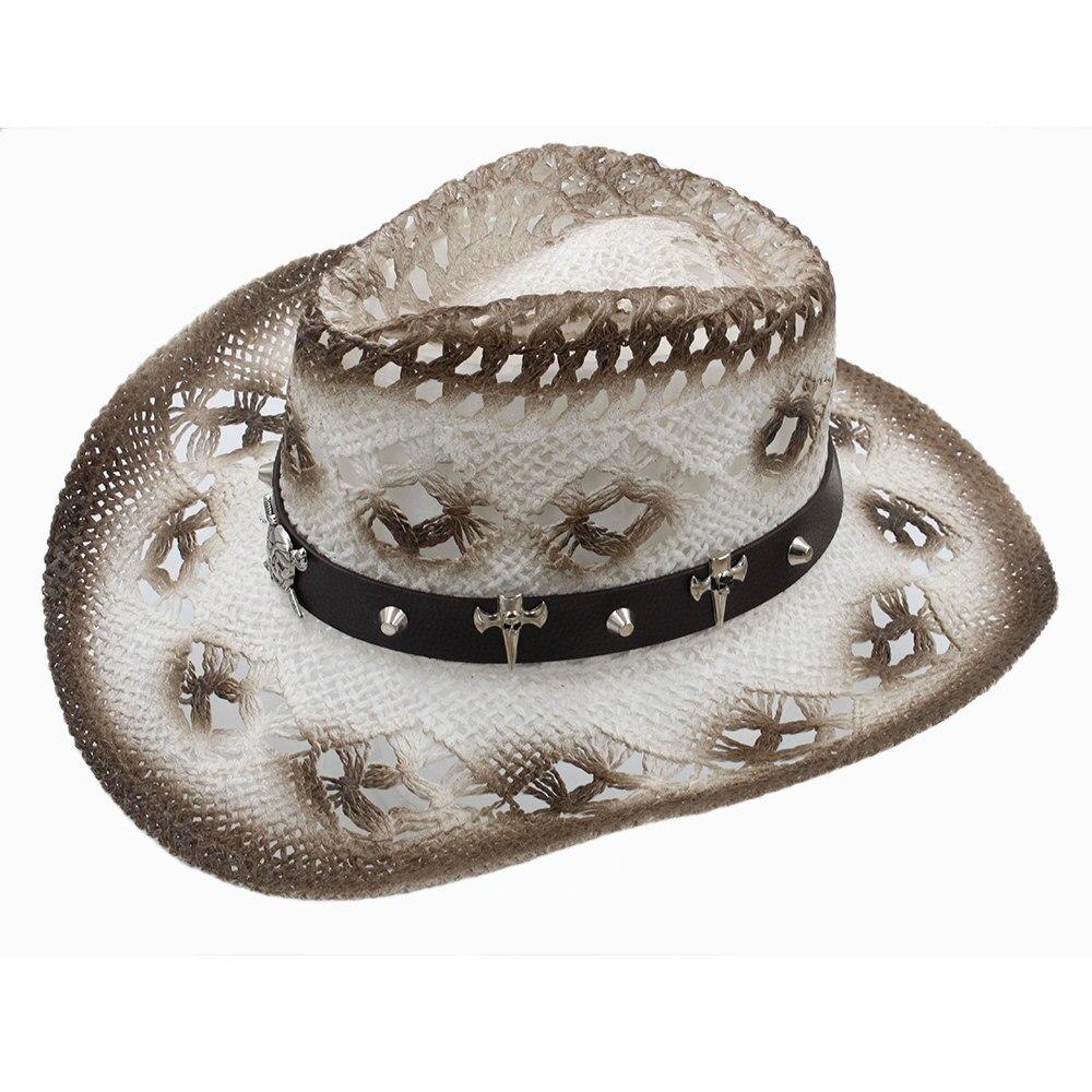 Design; In Women Men Western Sun Hat With 2019 Band Handmade Weave Lady Gentleman Beach Sun Sombrero Cowboy Hat Size 58cm A0081 Novel