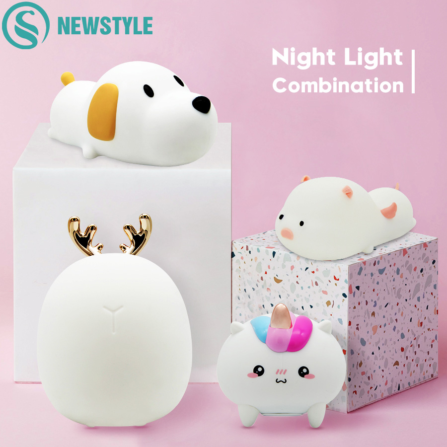 Silicone Touch Sensor LED Night Light USB Rechargeable Animal Bedroom Beside Night Lamps For Baby Children Kids Gift Desk Lamp