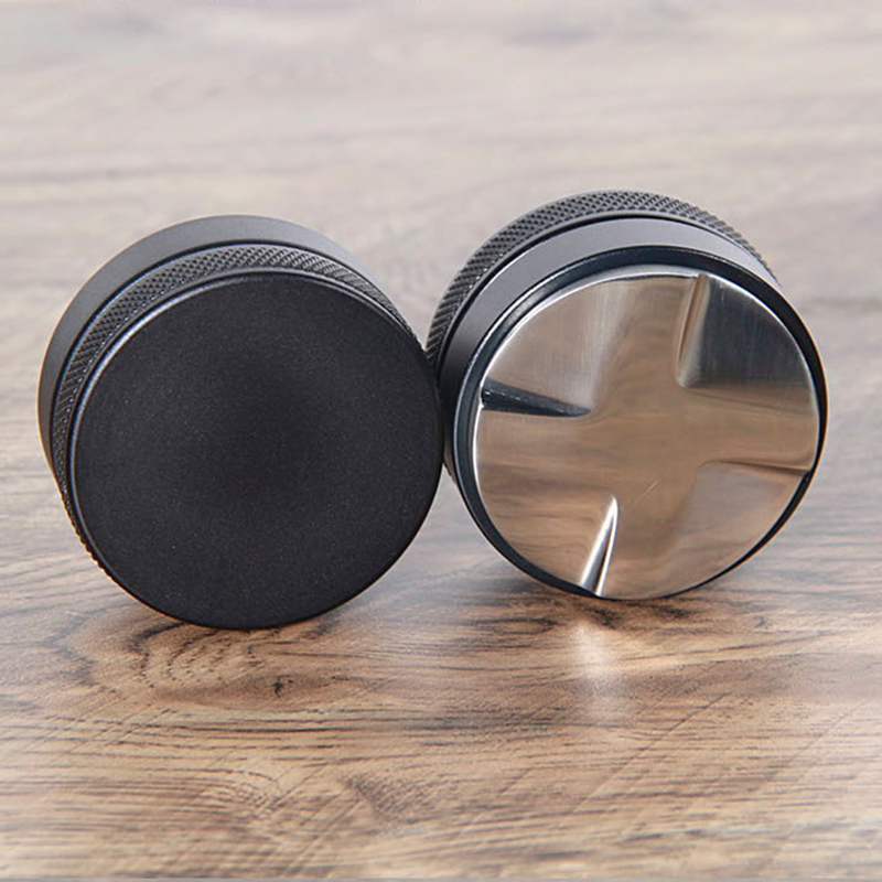58.35mm Stainless Steel Coffee Tamper ,Convex Base Adjustable Four Leaves Powder Hammer Cloth Powder Espresso Tamper Coffee Tool