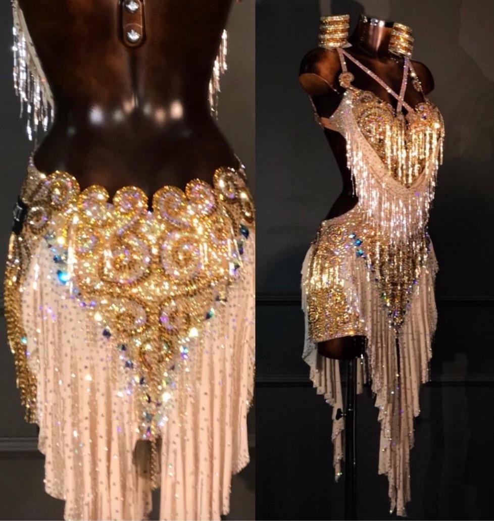 Women Ballroom Salsa Rhythm Latin Rumba Dance Dress US 10 UK 12  Pink  Dance Latin Dance  Dress