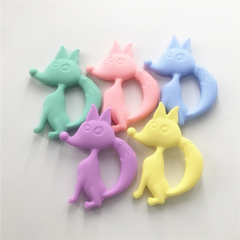 Chenkai 5PCS BPA Free Silicone Fox Teether Pendant DIY Baby Animal Pacifier Dummy Nursing Sensory Teether Toy Accessories chenkai 10pcs bpa free silicone ice cream teether pendant nursing diy baby shower pacifier dummy sensory toy accessories