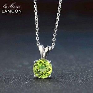 Ламон 8 мм Натуральная круглая огранка Перидот стерлингового серебра простая цепочка Pandent ожерелье женское ювелирное изделие S925 LMNI057