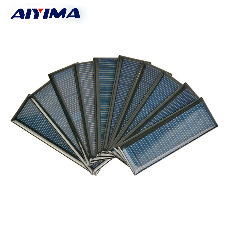 AIYIMA 10pcs Solar Panel 5.5V Solar Car Battery Charger Sunpower Photovoltaic Panel China for Small Solar System 90*30mm