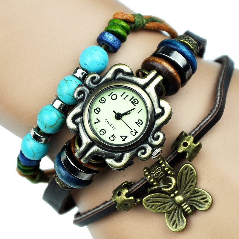 Charm Bracelet Watches: NEW Butterfly Charm Women Watch Turquoise Genuine Leather