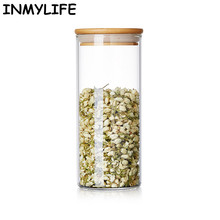 INMYLIFE 1Piece 14 Sizes Transparent Glass Sealed Kitchen Storage Food Containers Beans Bottle Tea Box Snacks Jar