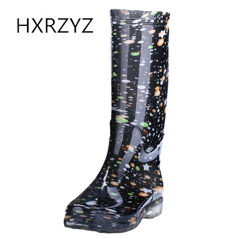 HXRZYZ women rain boots female plus Cotton rubber boots new fashion printing waterproof Slip-Resistant spring/autumn women shoes hxrzyz big size rain boots new fashion non slip rubber boots waterproof fishing boots in the tube rain shoes women