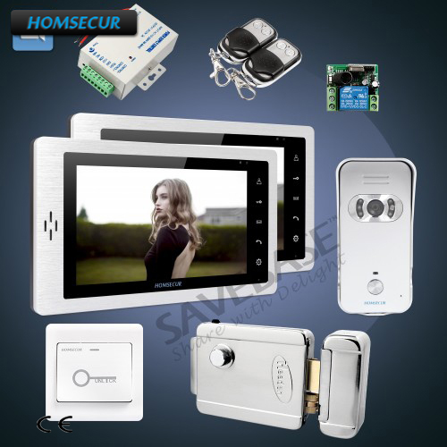 HOMSECUR 7inch Hand-Free Video Door Intercom System+IR Night Vision 1C1M For House/Flat 1C1M