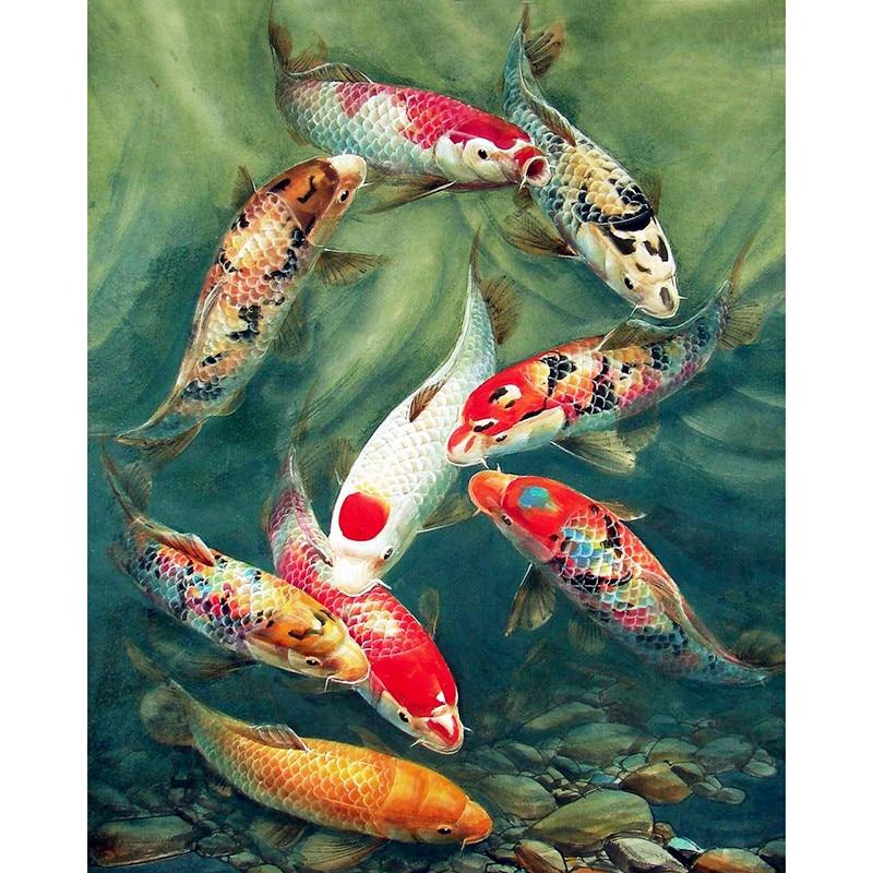 FULL 5D diy diamond painting cross stitch diamond embroidery diamond mosaic kit fish picture animal diamond knitting gift