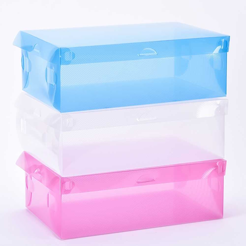 Liplasting Clear/Green/Blue/Rose Plastic Storage Boxe Shoe Container Organizer Holder Box Store Product