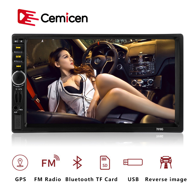 <font><b>7018G</b></font> <font><b>2</b></font> <font><b>Din</b></font> Auto Car Multimedia Player GPS Navigation 7'' inch HD Touch Screen MP3 MP5 Audio Stereo Car <font><b>Radio</b></font> Bluetooth FM USB image