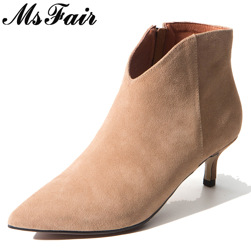 MSFAIR Pointed Toe High Heel Women Boot Casual Fashion Zipper Ankle Boot Women Shoes Mature Concise Thin Heels Ankle Boot Woman все цены