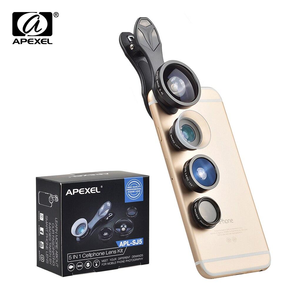imágenes para 5 en 1 Lente Clip de La Foto 198 Degree Fisheye + 0.4X GRAN ANGULAR + Macro + Filtro CPL lente de la cámara kit para iPhone 5S 6 Xiaomi teléfonos SJ5