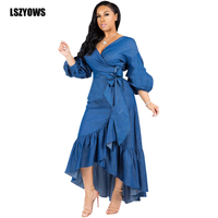 Denim Long Dresses 2019 Women Sexy V Neck Lantern Sleeve Sashes Party Dress Ruffle Hem Vintage Maxi Jeans Dress Elegant Vestidos
