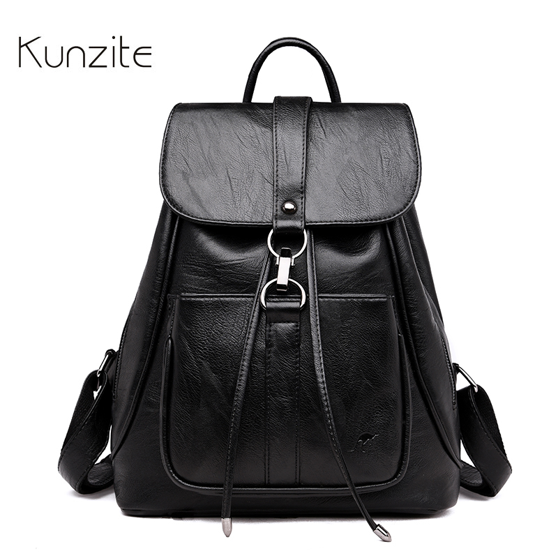 Kunzite 2018 Fashion Women Backpack Famous Brand Leather Backpack Female Large Capacity Bookbag Designer Shoulder Bags