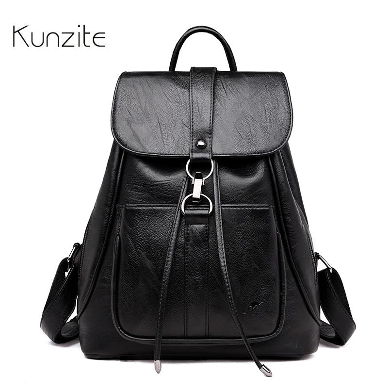 Kunzite 2018 Fashion Women Backpack Famous Brand Leather Backpack Female Large Capacity Bookbag Designer Shoulder Bags