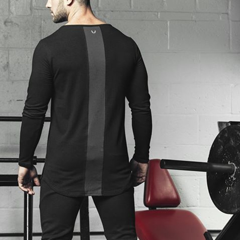 2019 Mesh Patchwork Back Breathable Cotton Tight Gyms T Shirts Mens T-shirt Muscle Fitness Bodybuilding Clothes Tees Tops