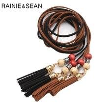RAINIE SEAN Thin Leather Fringe Women Belt Tassel Beaded Ladies Belts For Dresses Bohemia Vintage Black Camel Spring